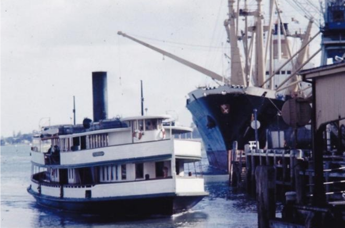 steam engine ferry boats, auckland,